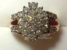 Lady 14kt yellow gold diamond cluster ring 3 carats  BRAND NEW