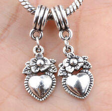 2P European Silver CZ Charm Beads Fit sterling 925 Necklace Bracelet Chain A#633