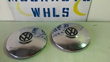 2 VW Original Dog Dish Poverty Hub Cap 10 Inch's Wide Steel With Chrome pair