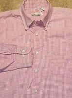 Peter Millar Long Sleeve Button Front Shirt Check  Cotton Pink White L