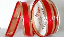 """Wired Red & Gold Christmas Ribbon 1"""" X 10 yards  """"Paris"""""""