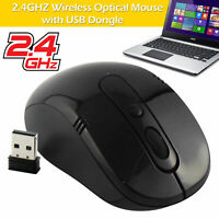 Optical Wireless Mouse Scroll 2.4Ghz Cordless USB Dongle Receiver For Laptop PC