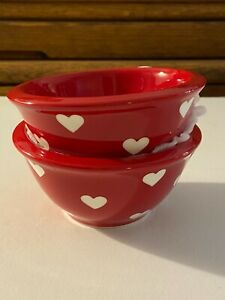 NEW TERRAMOTO CERAMIC SMALL RED WHITE HEART VALENTINE Appetizer DIP BOWLS Set 2