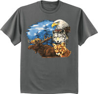 Funny T-shirts Mens Graphic Tees Moose Eagle Mountain Lion Wildlife Wolf Tshirt
