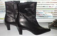 Italian Romanelli Black Soft 100% Real Leather Boots Size 40, UK 6.5