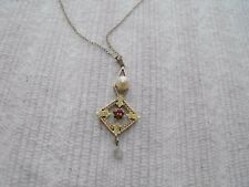 Antique Vintage 10k Rose Gold Lavalier Pendant Necklace Pearl Ruby Filigree Rose