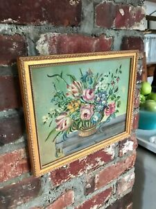 "11"" Vintage Folk Art Oil Painting on Wood Flowers on Gray Bench Primitive Signed"