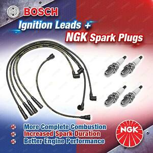 4 x NGK Spark Plugs + Bosch Ignition Leads Kit for Nissan Navara D21 Vanette C22