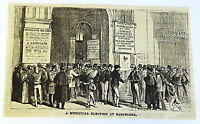 small 1882 magazine engraving ~ MUNICIPAL ELECTION AT BARCELONA Spain