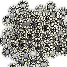 146 7mm silver plated antique style daisy spacer beads findings