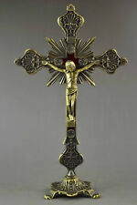 OLD COPPER CARVING JESUS CROSS STAND REDEMPTION SPECIAL STATUE