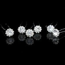 6 Pcs Flower Bridal Wedding Prom Crystal Rhinestone Hair Pins H71