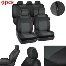 9x PU Leather Universal Car Seat Covers Full Set Seat Back & Headrest Protector