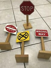 Scale Wood Street Signs Railroad Model Car Stop Wrong Way