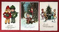 3 x Glückwunsch AK NEUJAHR Weihnachten 1926 Kinder mit Weihnachtsbaum  ( 67503