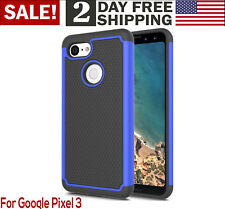 Google Pixel 3 Case Rugged Armor Dual Layer Phone Cover Drop Protection Black