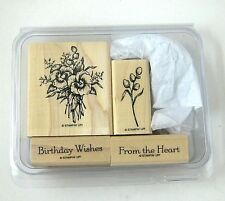 NEW Stampin Up ASSORTED RUBBER STAMP SET (4ct) Birthday Floral Love Nature Pansy