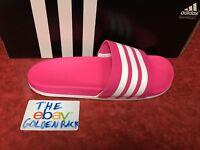 adidas B42122 Womens Adilette Cloudfoam+ Slide Sandal Pink White