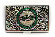 Mother of Pearl Metal Double Crane Business Name ID Card Case Money Cash Holder