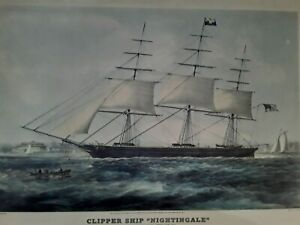Vtg Clipper Ship Nightingale Battery Art Print N Currier Penn Prints New York