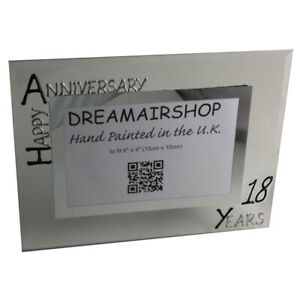 18th Wedding Anniversary Picture Photo Frame: (L) (Black/Silver) (Feather)