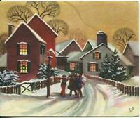 VINTAGE CHRISTMAS SEPIA STREET VILLAGE ACCORDION SNOW BARE TREES GREETING CARD