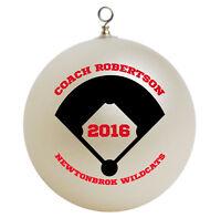 Personalized Custom Baseball Softball Coach Christmas Ornament