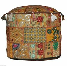 Indian Ottoman Pouffe Cover Ethnic Patchwork Embroidered Decor