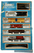 LIMA HO 1:87 ELECTRIC TRAIN SET 5 TRAIN CARS 1 LOCOMOTIVE WITH TRAIN TRACKS