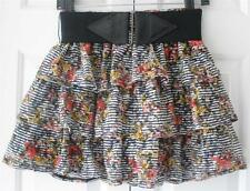 Wet Seal  Womens Juniors Floral Stretch Tiered Summer Belted Skirt Size Small