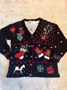 Vintage XL Christmas Cardigan Sweater Tinsel Ugly Festive 80s 90s Tacky