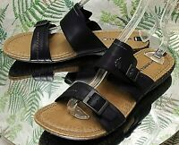 MERRELL BLACK LEATHER STRAPPY MULES SLIDES DRESS SANDALS SHOES US WOMENS SZ 9