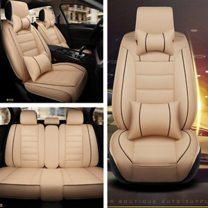 Deluxe Edition Car Seat Cover Cushion Front+Rear 5-Seats PU Leather w/Pillow Kit