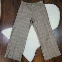 Lauren Ralph Lauren Women's Size 12 Dress Pants Brown Plaid Wide Leg Linen
