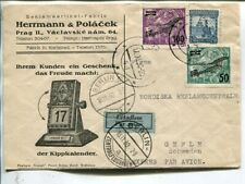Czechoslovakia express air mail cover to Sweden 1930