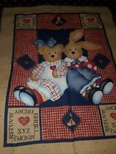 "Handmade Teddy Bear and Bunny with Hearts quilt ""40x30"""