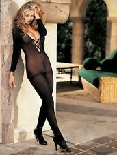 Sexy Sheer Criss Cross Black Bodystocking by Hot Hosiery/Shirley of Hollywood