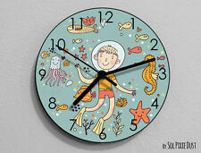 Boy Scuba Diving - Sea Life - Kids Nursery Room,Teens Room - Wall Clock