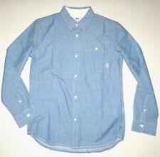 Vans Boys Youth Bayview Long Sleeve Woven Button Up Cotton Shirt Medium
