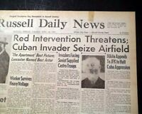 BAY OF PIGS INVASION Day of Fidel Castro Rebels CUBAN (Phony War) 1961 Newspaper