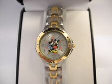 MZB  DISNEY LADIES MICKEY MOUSE TWOTONE WATCH METAL BAND NEW REDUCED