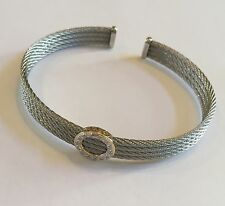 Brand New Charriol Celtic Classique 18K Gold , Diamond & Cable Bangle Bracelet