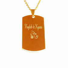 Personalised Gold Plated Military Charm Pendant Necklace Wedding Birthday Gifts