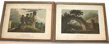 2 aquatint etchings Jamer Merigot 'Bridge of Varus' & Tomb of Horath 1798 Rome