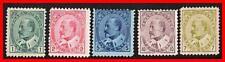 CANADA 1903  EDWARD VII SC#89-93 MH OG (5c sm.THIN) CV$1025.00