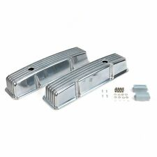 Small Block Chevy Nostalgic Polished Aluminum Finned Tall Valve Covers 350 SBC