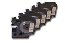 5x Cassette de cinta 19mm N/B para Dymo D1, 45803, S0720830