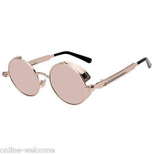 Steampunk Gothic Retro Round Circle Sunglasses Metal Gold Metal Pink Mirror C4