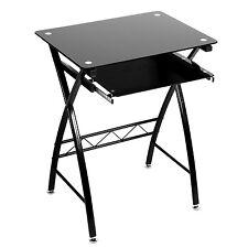 Modern Small Office Desk Black Computer Glass Table Laptop Furniture Workstation