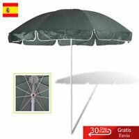 Sombrilla para Playa Redonda de Tela Verde 240cm Parasol de Jardín al aire libre